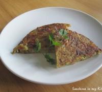 Aardappelkoek met bacon en ui